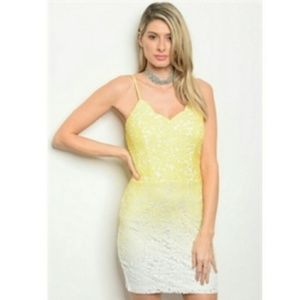 Yellow white ombre lace mini dress size S M L
